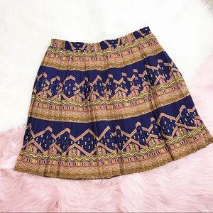 Edme & Esyllte Navy, Brown geometric pleated skirt